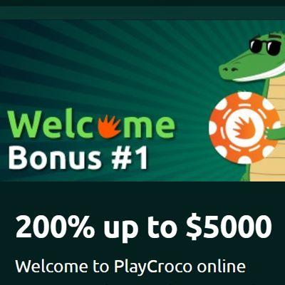 logo de 200% HASTA 5000$ BONO BIENVENIDA PLAYCROCO