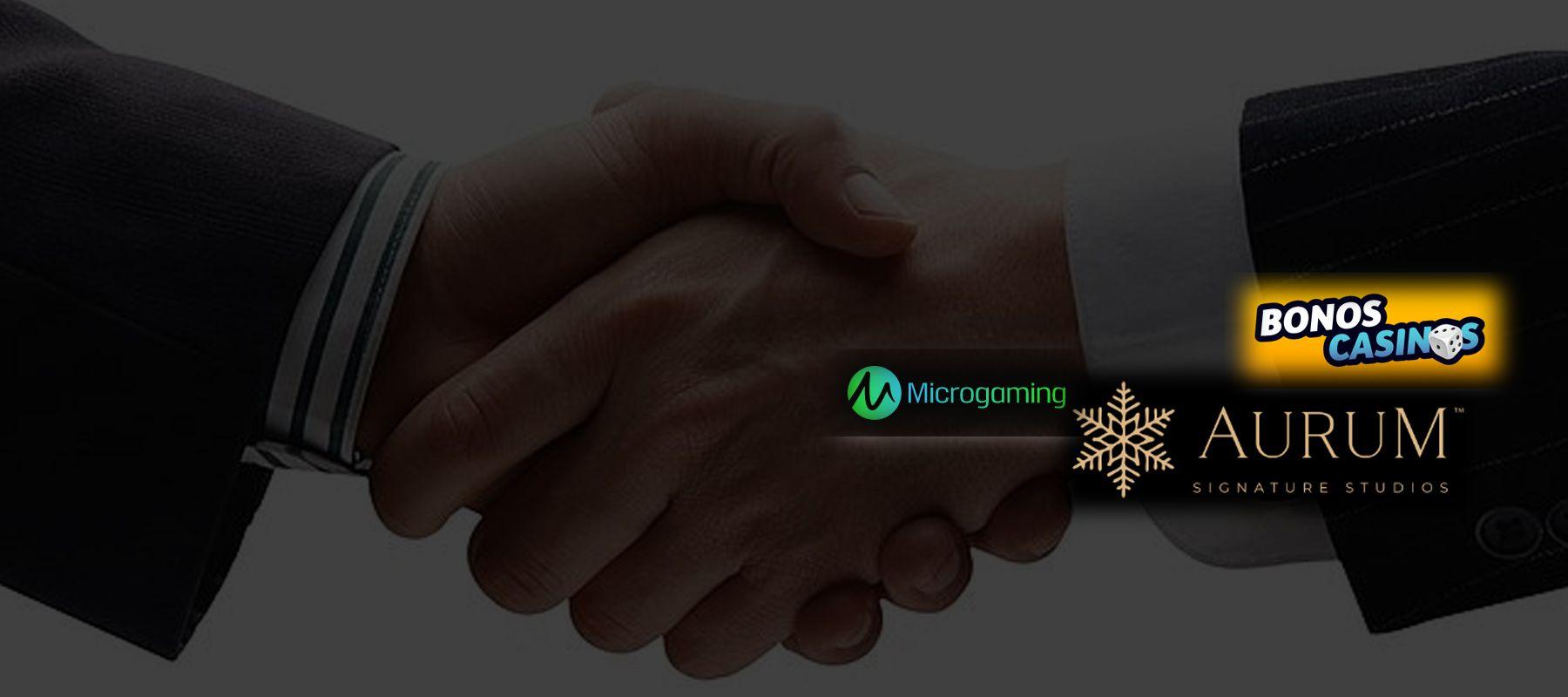 logo de Aurum Signature Studios: bajo la cobertura de Microgaming