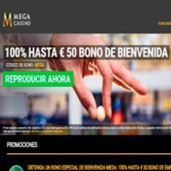 logo de BONO 100% HASTA 50€ MEGACASINO